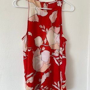 Violet + Claire Sleeveless Red/Pink Flower Blouse